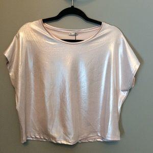 Zara pink metallic boxy cropped top